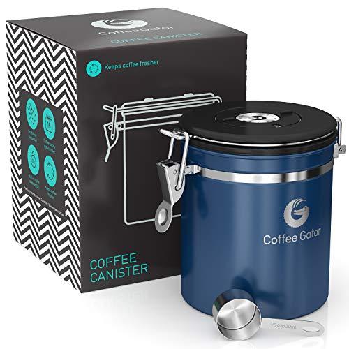 Coffee Gator-Edelstahl-Kaffeedose – Hält gemahlener Kaffee und Bohnen länger frisch – Behälter mit Datumsverfolgung, CO2-Freigabeventil und Messlöffel - Mittel - Blau