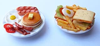 Mixed Set 2 Dollhouse Miniature Pancake and Sandwich, Dollhouse Collectibles