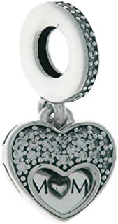 I Love My Mom Dangle Hanging Heart Pendant Charm – Clear Cubic Zirconia for Mothers