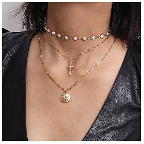 Kercisbeauty Parel Choker Ketting Gouden Ketting met Cross Shell Hanger 3 Gelaagde Ketting voor Vrouwen Laides Meisjes