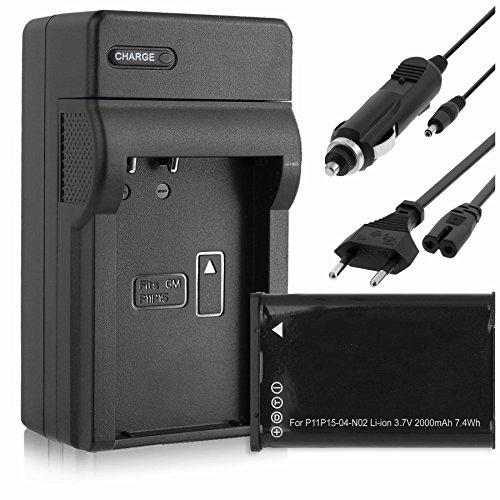 Batería + Cargador (Coche/Corriente) para Garmin VIRB, VIRB Elite/Monterra/Montana 600, 650.