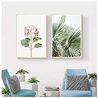 ウォールアート、ピンクサボテングリーンプラントフラワークリエイティブイングリッシュキャンバスペインティングアートアブストラクトプリント画像ホームデコレーションフレームなし