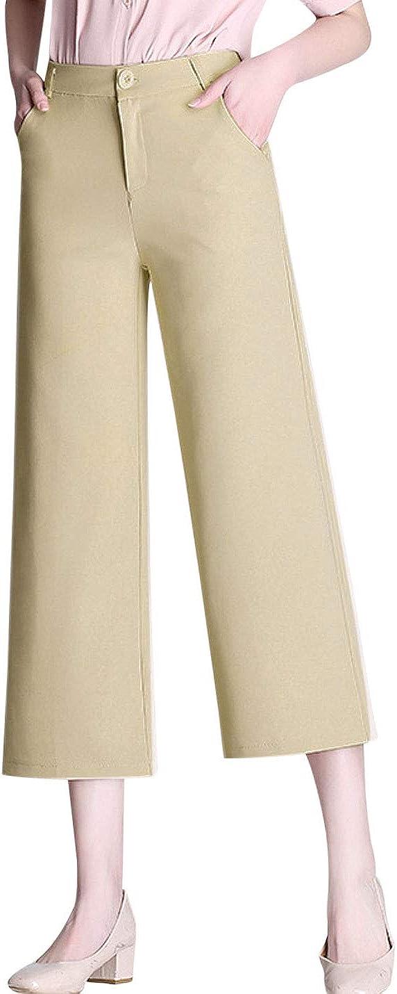 Tanming Women's Fashion High Waist Cropped Wide Leg Pants Trousers