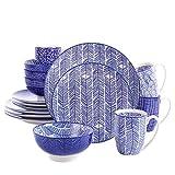 vancasso Takaki,Vajillas de Porcelana 16 Piezas Juego de Servicio Combinado, con 4 Tazas de Café, 4 Tazones de Cereales, 4 Platos de postre 4 Platos de Cena, para 4 Personas