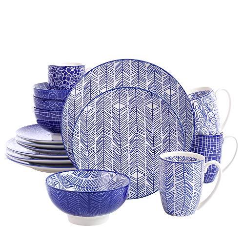 vancasso TAKAKI, Servizio Piatti Set 16 Pezzi, Servizio da Tavola per 4 Persone in Porcellana Blu Stile Giapponese con Piatti da Dessert, Tazza da caffè, Piatti Piatto, Ciotole per Cereali