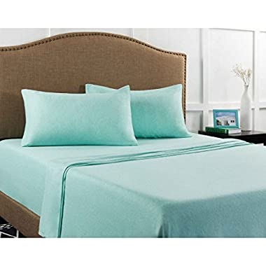 Mainstays Jersey Knit Sheet Set Mint Heather, Queen