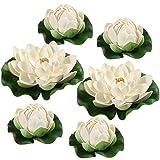 BESPORTBLE Flores Artificiales White Lotus Simulation Floating Pond Lotus para la decoración de Interiores al Aire Libre Decoración Adornos, 6PCS, 17cm + 10cm