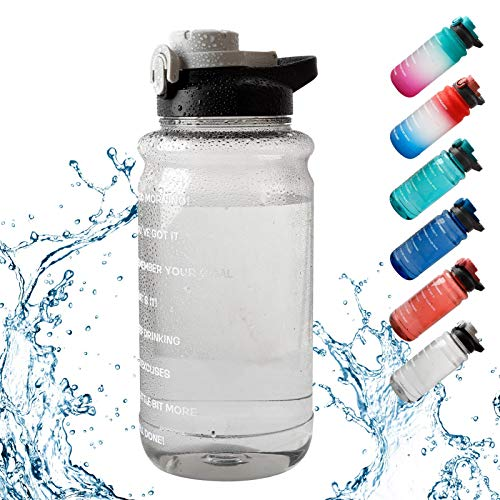 Large Half Gallon Water Bottle & Straw. with Time Marker- Fast Flow, Flip Top / Leak Proof Lid /one Click Open - Non-toxic Eco- Polycarbonate Plastic, Best Partner or Fitness, Gym and Outdoor Sports,68oz