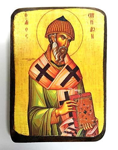 Handgefertigte griechisch-christlich-orthodoxe Holz-Ikone des Heiligen Spyridons A0