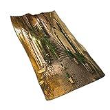 DJNGN Toallas de manos, vista nocturna al patio con farolas, sillas de café, plantas en macetas, Roma, Italia, estampado de patrones Toalla de baño suave altamente absorbente para baño, hotel, gimnasi