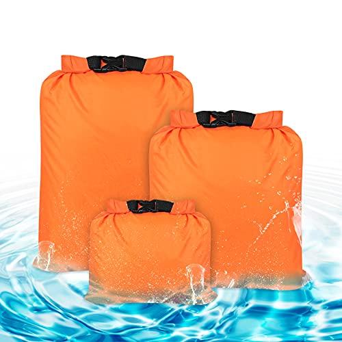 Bigxin 3Pcs Bolsas Impermeable Bolsas Estancas Bolsa Nylon Seca Impermeable Estancas Bolsa de Deporte Bolsa Impermeable Playa Piscina para Acampar Viajar(1.5L, 2.5L, 3.5L, Naranja)