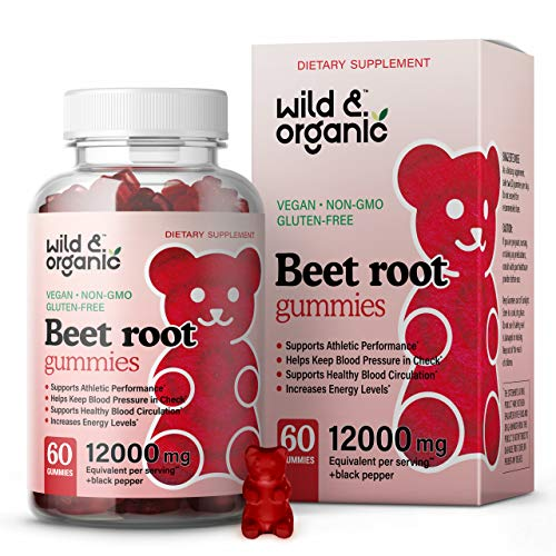 Wild & Organic Beet Root Gummies - Natural Dietary Supplements for Athletic Performance, Heart & Digestive Function, Immunity - Beet Root Superfood Nutritional Chewable Vitamins - 12000 mg, 60 Chews
