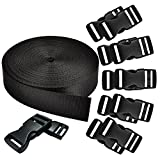 REKYO 1 Inch Wide 10 Yards Black Nylon Heavy Webbing Strap and 12 PCS Flat Side Release Buckles...