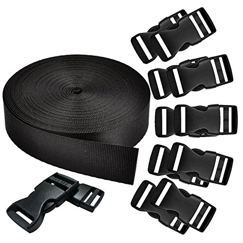 REKYO 1 Inch Wide 10 Yards Black Nylon Heavy Webbing Strap and 12 PCS Flat Side Release Buckles Nylon Webbing Tape For DIY Craft Backpack Strapping(New Product)