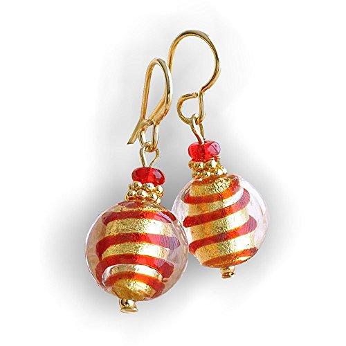 Mix Rojo y oro pendientes de joyas (Veritable cristal de Murano