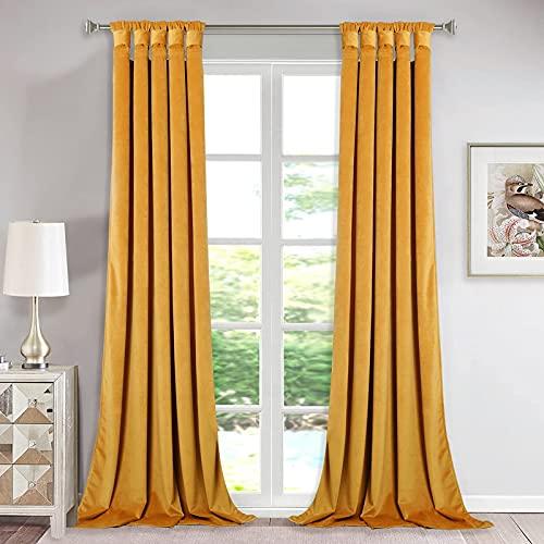 StangH Room Darkening Velvet Curtains - Velvet Drapes 84 inches Long for Modern Living Room Decor, Twist Tab Design Light Blocking Shade Panels for Dining Foyer, Warm Gold, 52 x 84-inch, 2 Pcs