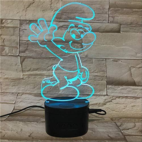 Illusionslampe, 3D-Nachtlicht, Led Mit 5 Farbverläufen, Schwarze Basis-Schlumpf-Tischlampe Mit Bluetooth-Lautsprecher