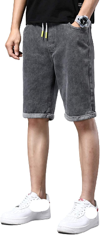 Andrea Spence Men's Denim Shorts Five-Point Pants Fashion Thin Stretch Straight Leg