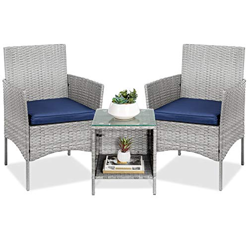 Best Choice Products 3Piece Outdoor Wicker Conversation Bistro Set Patio Furniture for Yard Garden w/ 2 Chairs 2 Cushions Side Storage Table  Gray/Navy