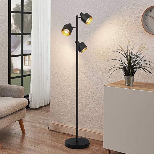 Lámpara de pie vintage 3 llamas uplighter con focos giratorios y giratorios lámpara de pie retro de 153CM de diseño industrial fabricada en metal en color negro y dorado, 3 x E14 máx. 25W, sin lámpara