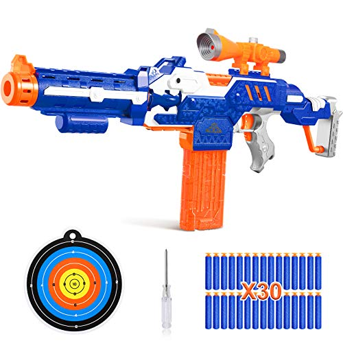 IVETTO Foam Blaster Toy Guns for Boys, 4-in-1 Sniper Rifle for Target Practice, Motorized Long Range Dart Guns with 30 Refill Soft Bullets Scope Attachment, Gifts for Kids Aged 8-12