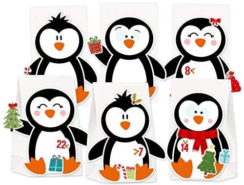 KuschelICH Adventskalender zum Befüllen Pinguin - mit Stickern zum Gestalten und selber Basteln - wiederverwendbar (Pinguin)