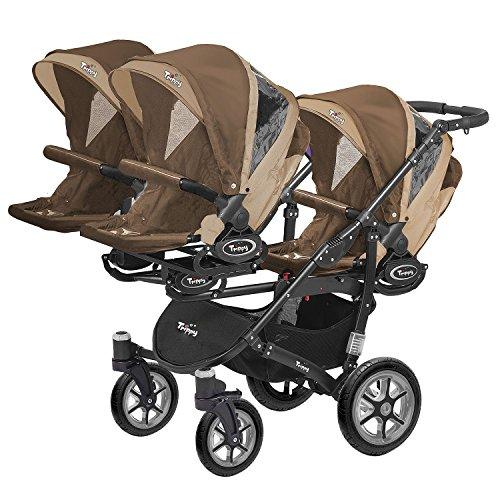 Kinderwagen für Drillinge Säugling und ältere Zwillinge 1 Gondel 3 Sportsitze Trippy Kinderwagen 2in1 schwarzer Rahmen (braun beige 02)