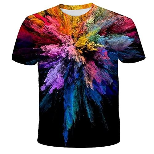 ZHUOYU T-shirt unisex 3D, maglietta 3D, da uomo e donna, motivo vivace e interessante, con scollo rotondo, maglietta casual a maniche corte, colori vivaci XXS-6XL (C,XXS)