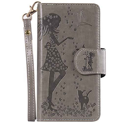 Capa carteira com 9 compartimentos para cartão XYX com espelho para Samsung Galaxy S10 Plus, Cinza, Samsung Galaxy S10 Plus SM-G975 6.4 inch