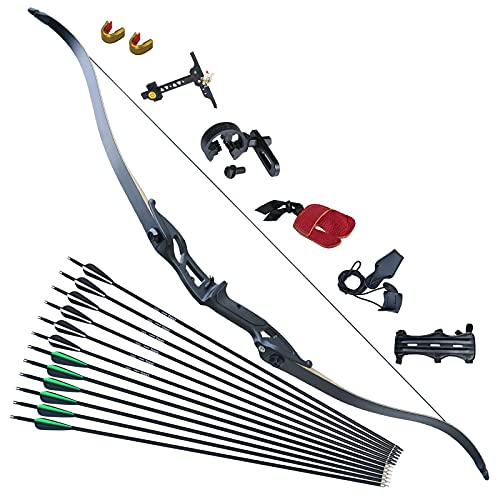 D&Q Recurve Bow and Arrow Set for Adult & Youth Beginner Takedown Recurve Bow 56' Right Handed with Ergonomic Design for Outdoor Training Practice(Black,50lb)