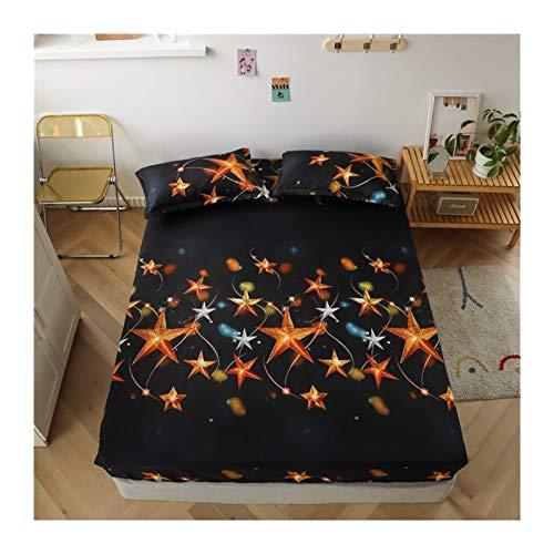 Juego de edredón King Tamaño Ropa de cama de lino Modelo grande Hoja de cama en forma de corazón-cama fijado for el colchón doble cubierta con elástico Sábana ( Color : Type 18 , Size : 90x200x25cm )