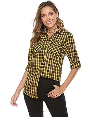 Aibrou Women's Roll up Long Sleeve Button Down Casual Boyfriend Plaid Flannel Shirt(S-XXL)