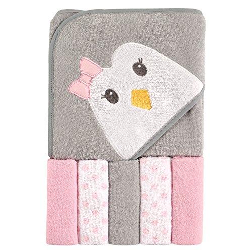 Toalla con capucha y 5 toallas de mano Luvable Friends, talla única , Pingüino