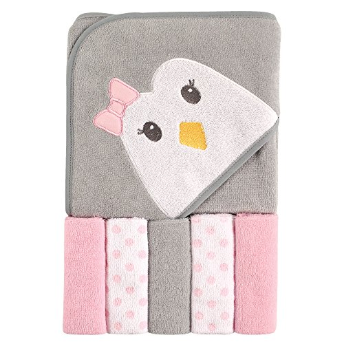 Luvable Friends Unisex Baby Hooded Towel with Five Washcloths, Penguin, One Size