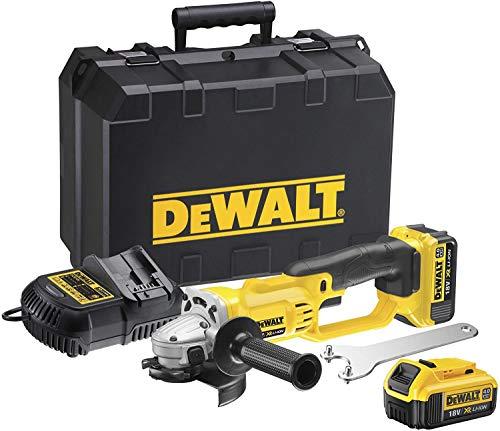 DeWalt DCG412M2-QW Mini-Amoladora XR 18V 125 mm con 2 baterías Li-Ion 4, 9 W, 18 V, Gris y negro