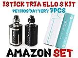 超爆煙 Eleaf iStick Tria 300W Mod Kit with Ello S Tank Atomizer (Vethos Design 高出力 INR18650バッテリー3本付き)電子タバコ VAPE アイスティック トリア (SILVER, 電池3本付き)