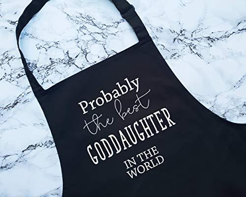 H34565ard Kochschürze, Aufschrift Proprobably The Best Goddaughter In The World, Geschenk zum Kochen, Backen, Grillen, für Gott, Tochter, Patentin, Taufe, Namenszeremonie