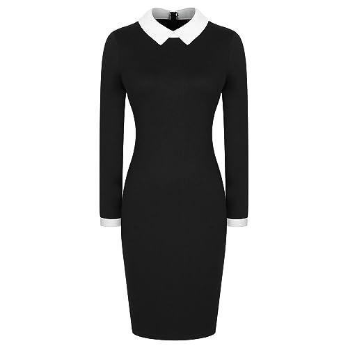 ebe3f0d0c9bae Miusol Women's Casual Polo Neck Long Sleeve Slim Bodycon Pencil Dress