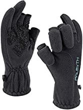 Palmyth Magnetic Fleece Fishing Gloves Convertible 3-Finger Ice Fishing Gloves Warm for Cold Weather and Winter Men Women Photography Running Outdoor (Black, XX-Large)