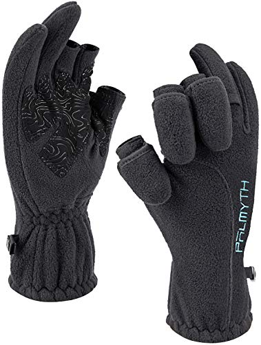 Palmyth Magnetic Fleece Fishing Gloves Convertible 3-Finger Ice Fishing Gloves Warm for Cold Weather and Winter Men Women Photography Running Outdoor (Black, Large)