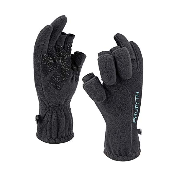 Palmyth Magnetic Fleece Fishing Gloves Convertible 3 Cut Fingers Ice Fishing Gloves...