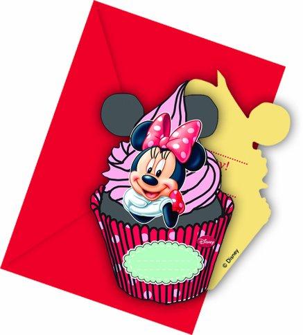6 Cartes d'invitation avec enveloppes Minnie café - taille - Taille Unique - 223475