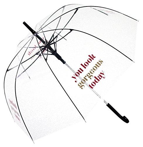 Du siehst heute wunderschön aus Durchsichtiger, Transparent Designer Damen Regenschirm
