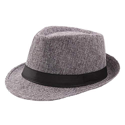 Viner Dames Heren Zomer Casual Trendy Strand Zon Krullend stro Panama Jazz Linnen Hoge hoed Ademend Cowboyhoeden Gangsterpet, donkergrijs