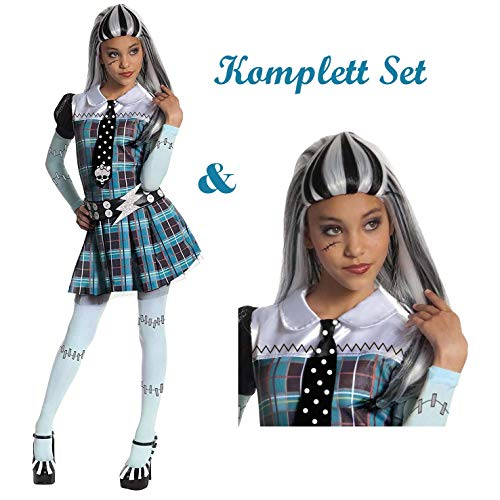 Savahe Monster High Frankie Stein Kostüm & Perücke Komplett Set / Halloween & Karneval Mädchen Zombie Party (140/146)