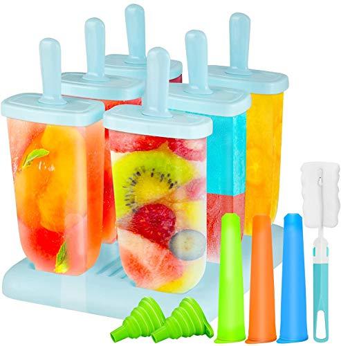 Gifort Eisform BPA Frei, 6-er Set Eisformen aus Hochwertiges PP-Material + 3-er Set Eislutscher Popsicle Formen aus Silikon+ 1 Stück Silikon Trichter + 1 Pinsel, EIS selbst herstellen.