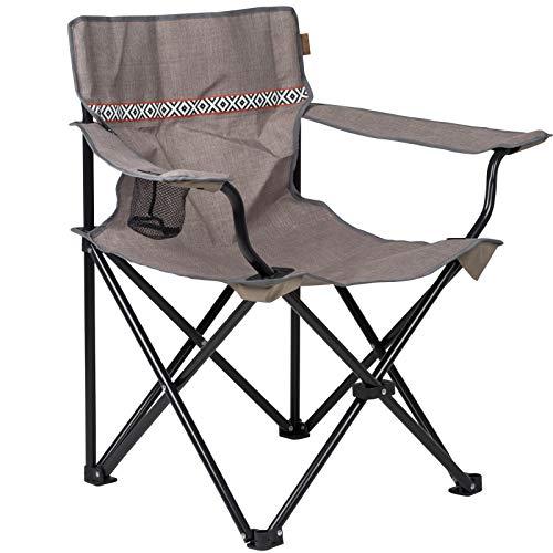 Camping Klappstuhl mit Tragetasche in Taupe belastbar bis 100kg • Campingstuhl Faltstuhl Gartenstuhl Stuhl Klappsessel Outdoor