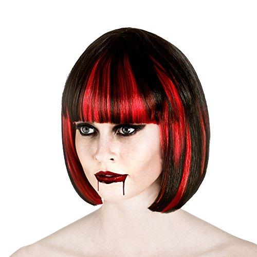 Ladies Black/Red Bloodlust Vampire Wig Halloween Fancy Dress Accessory
