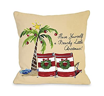 Bentin Home Decor Beachy Little Christmas Throw Pillow Cover by Timree Gold