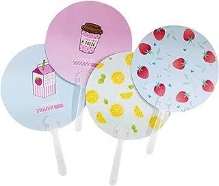 Toyvian Handfächer, rund, Mini-Handfächer, für Sommerpartys 1 x Erdbeermilch  1 x Milchtee  1 x Sommer-Zitrone, 1 x Erdbeere